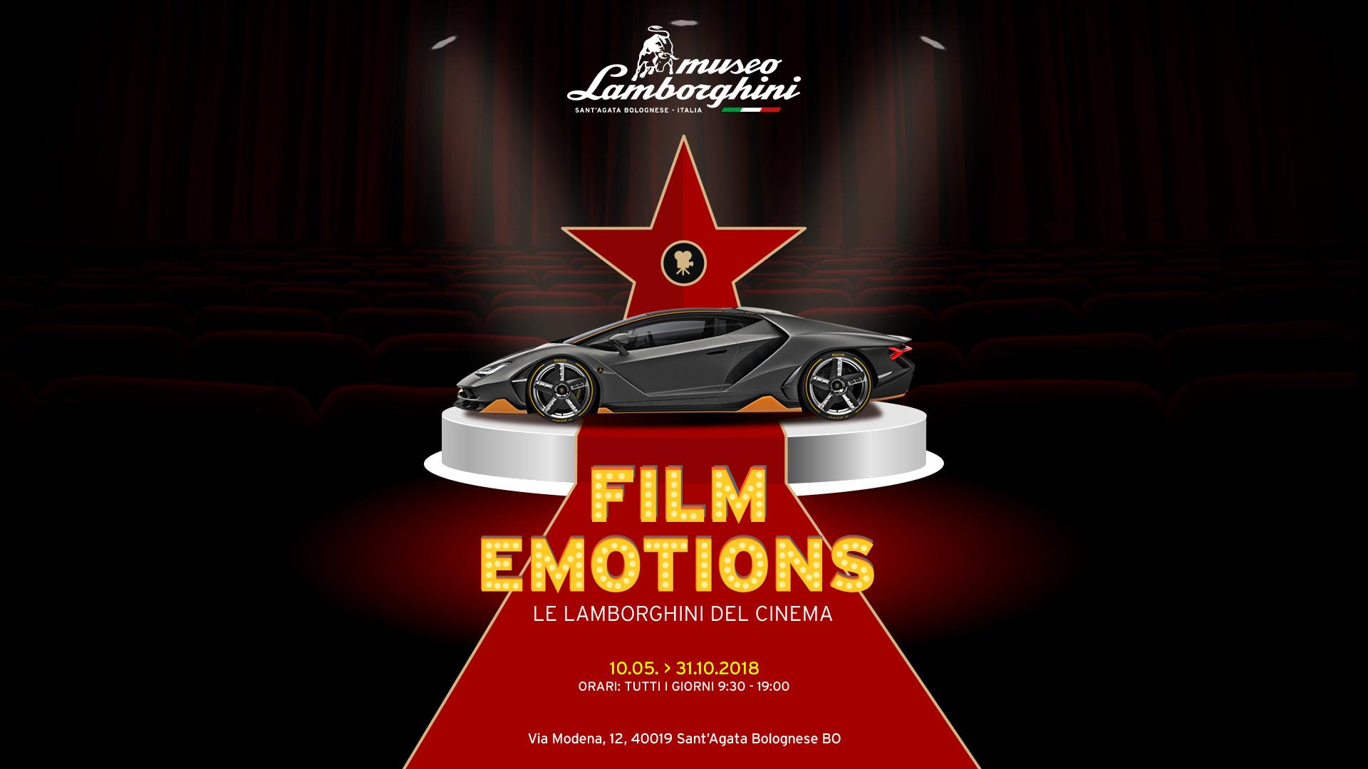 """""""Film emotions"""": le Lamborghini più famose della storia del Cinema in mostra al Museo della Casa del Toro."""