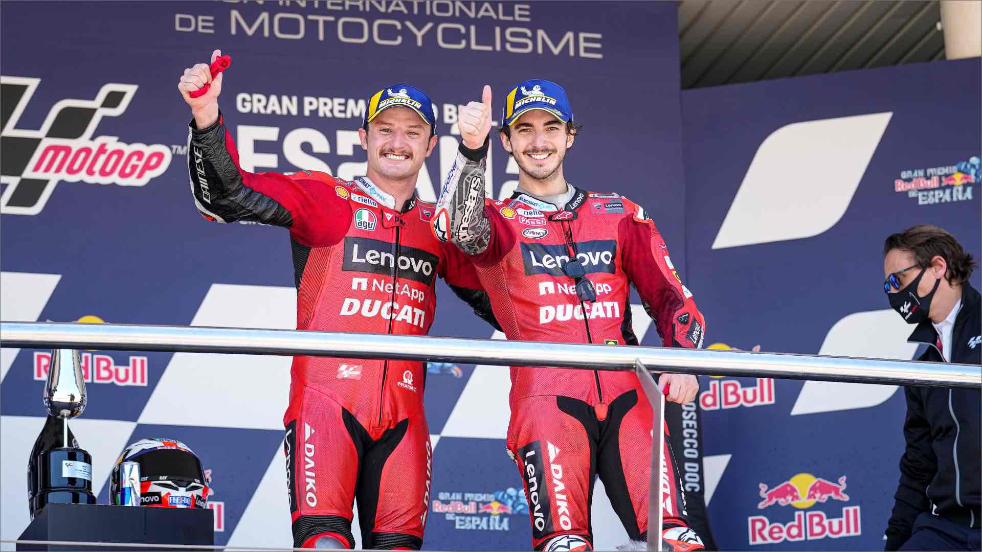 Extraordinary one-two at the Spanish Grand Prix in Jerez for the Ducati Lenovo Team with Miller first and Pecco Bagnaia second.