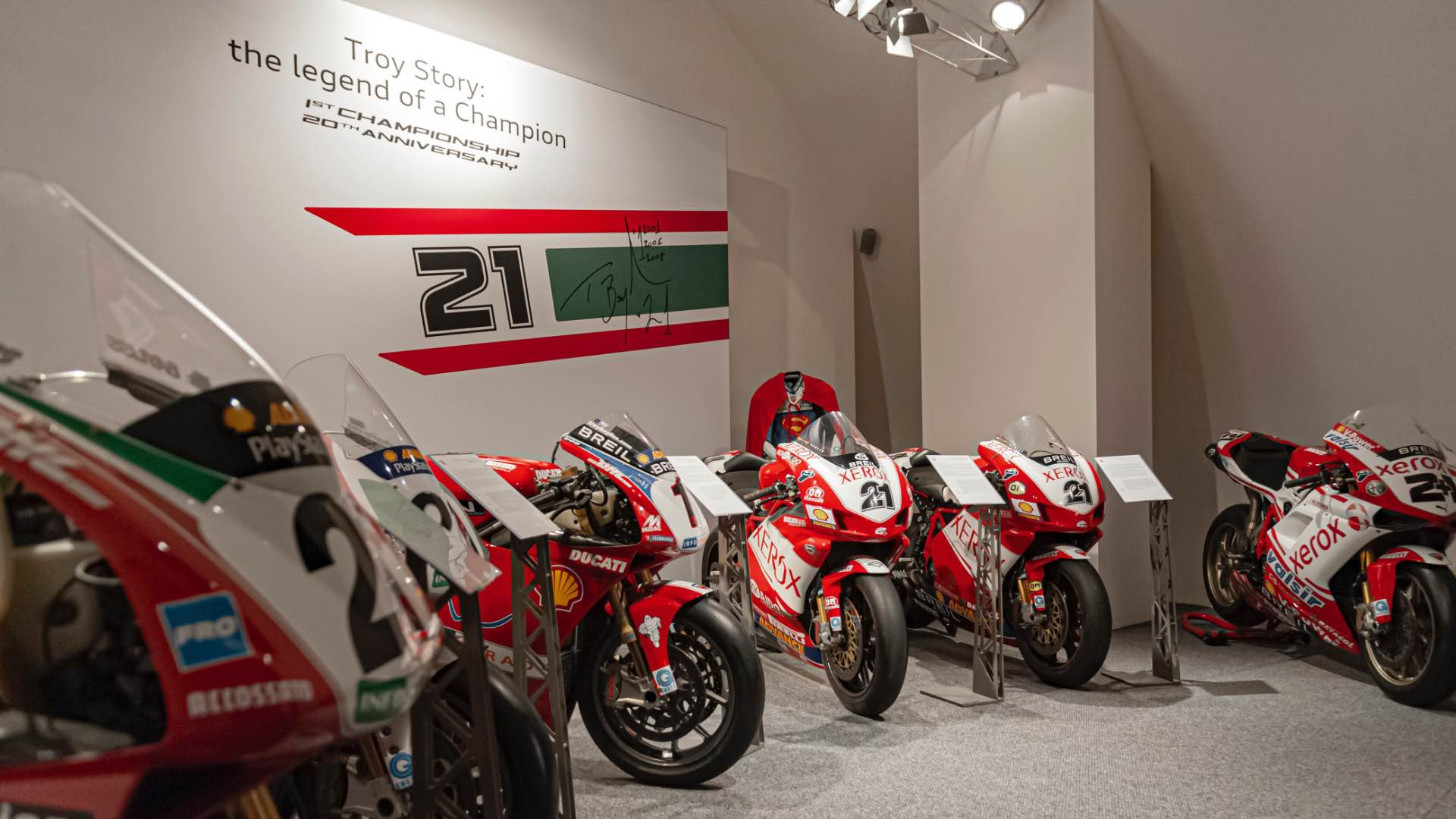 A temporary exhibition at the Ducati Museum for 20 years since Troy Bayliss's first world title.