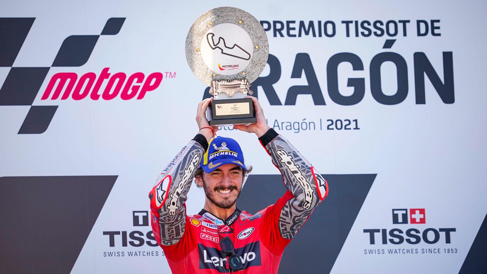 Aragón GP. Pecco Bagnaia secures extraordinary maiden victory in MotoGP. (Photo gallery)