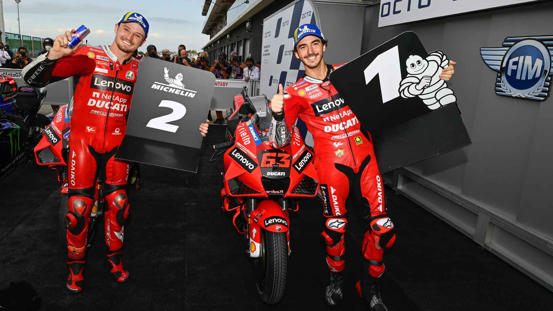 San Marino GP. It's another Ducati one-two in qualifying with Bagnaia on pole and Miller second at Misano World Circuit Marco Simoncelli.