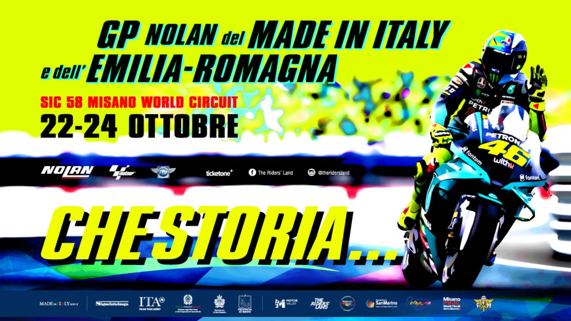 The Misano GP celebrates the myth of Valentino in Aldo Drudi's poster.